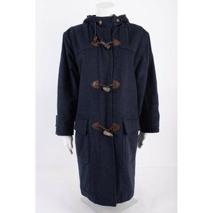 Lands End Womens Blue Loden Wool Toggle Coat
